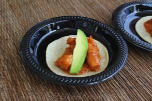 "Mercadito: ""Tacos de Camaron"" Shrimp, roasted garlic, avocado, chiptotle mojo"