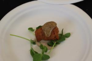 Perennial Virant: Ham croquette, pea shoots, pear mustard, pear mayo