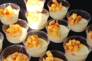 Terzo Piano at the Art Institute: Sweet corn panna cotta with peach mint and crystalized ginger