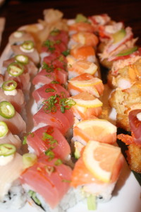 Yellowtail, Yuzu & Serrano Roll, Spicy Tokio Tuna, Spicy Shrimp, lemon and salmon