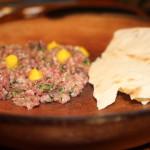 "Beef tartare with dijon ""egg fudge"