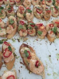 GT Fish & Oyster Shrimp Bruschetta, avocado mousse, fresno pepper and grapefruit
