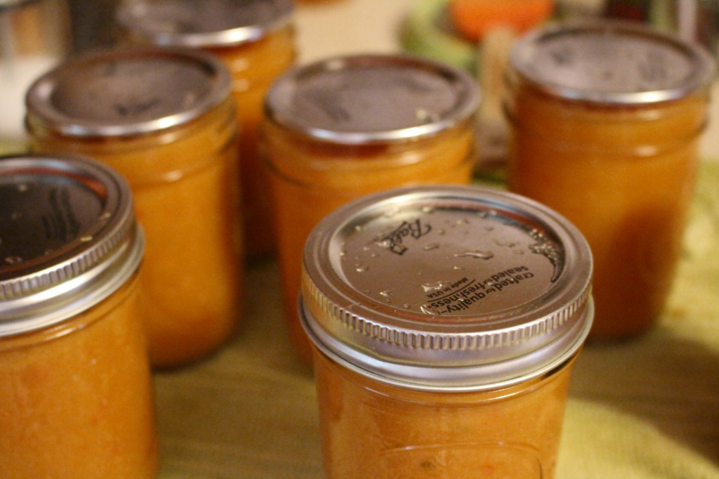 Ball's Peach Barbecue sauce fresh out of the canner