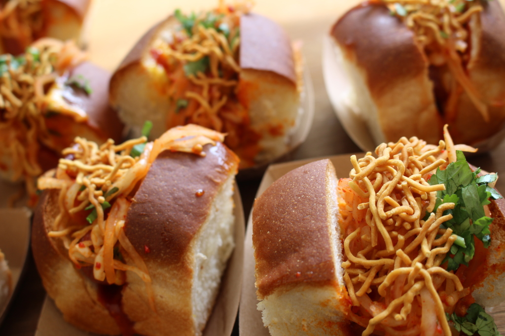 Leave it to Bill Kim to make an awesome Belly Dog with curry mayo and egg noodles.