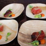Howells and Hood: 72-hr char sui pork jowl, with sweet & sour carrots, huckleberry sauce and edamame
