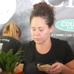 Stephanie Izard plating for Girl & The Goat at The Grand Cru Tasting