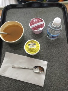 First meal the day after surgery…clear was the theme!