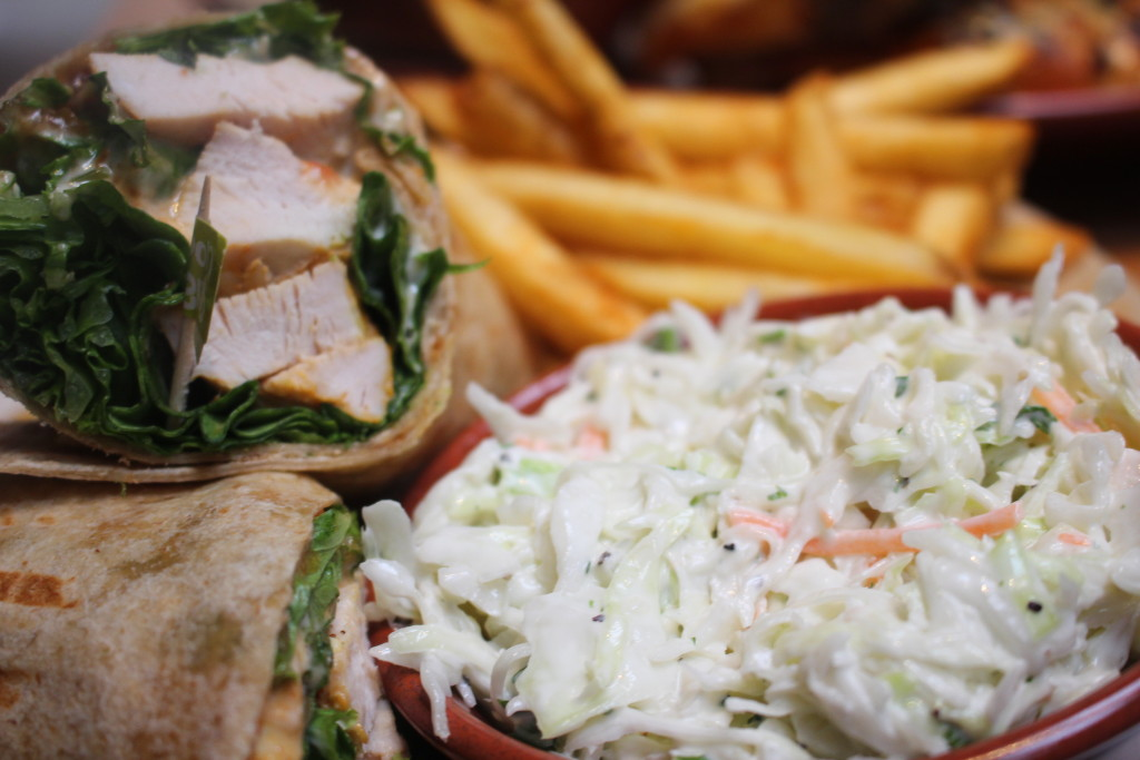 "Chicken Caesar Wrap with Creamy Coleslaw and ""PERi"" Chips (Fries)"