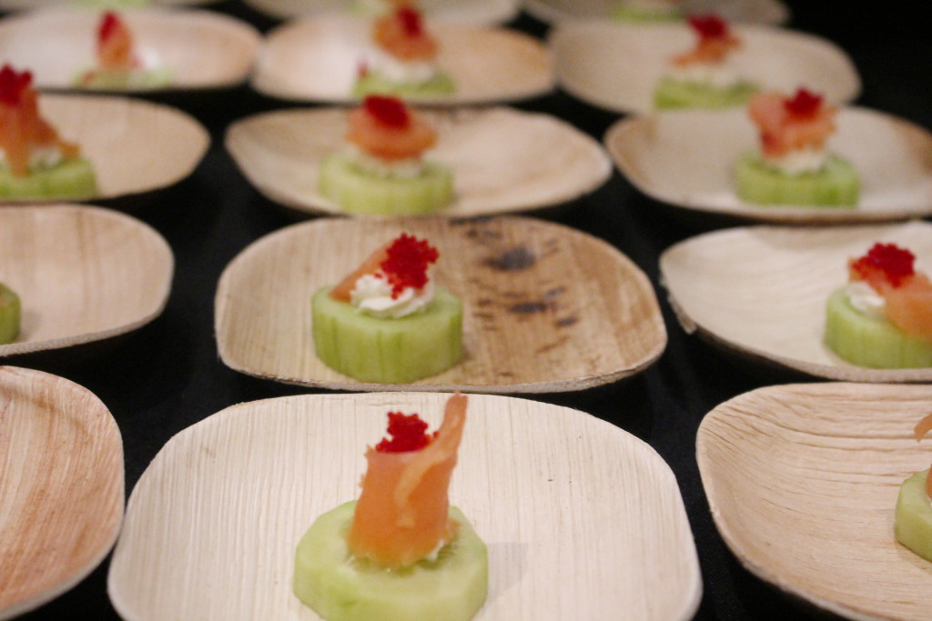 Fred's at Barneys New York shined with Smoked salmon and caviar on fresh cucumber