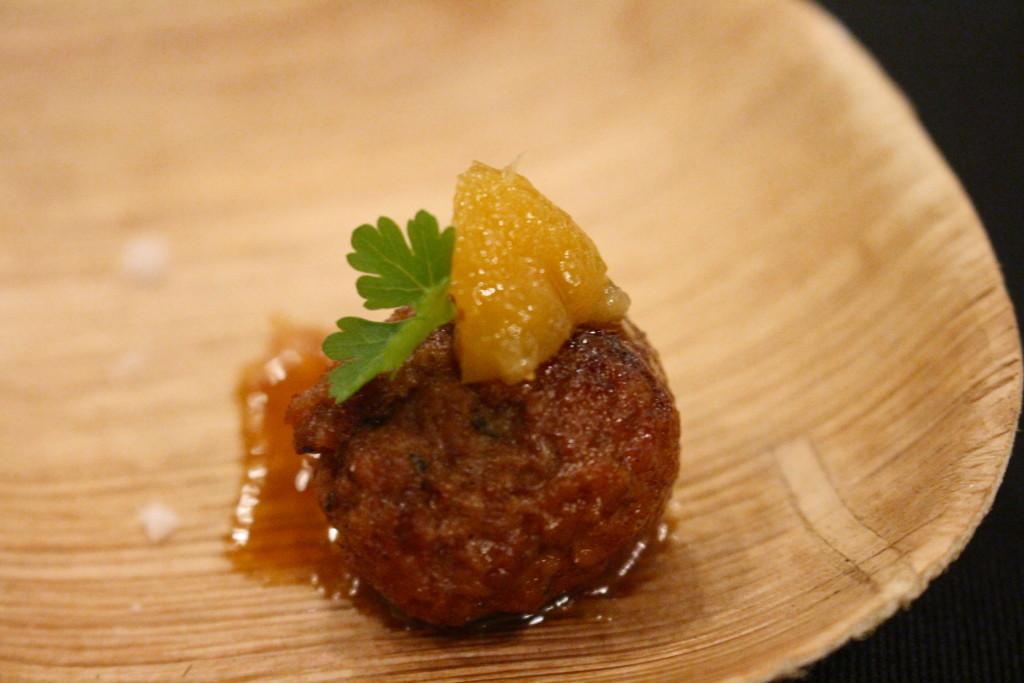 Chef Evan Behmer of Mercat a la Planxa did not disappoint with his balls. I mean, his duck and lamb meatballs with apricot escabeche. (I just write dirty stuff to see who reads the captions!)