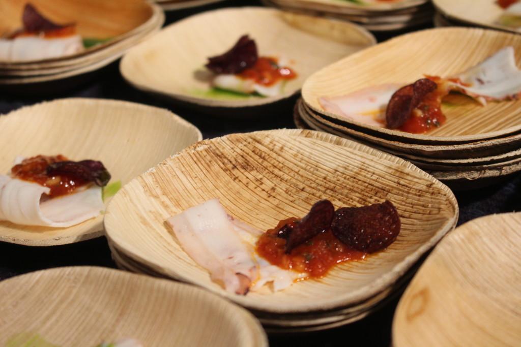 Carpaccio de Pulpo: Braised Octopus served with tomato escabeche and malbec chips