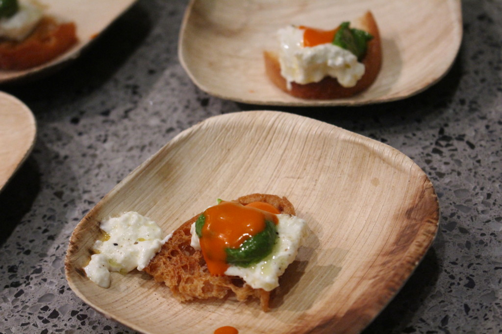 Burrata Cheese with a Calabrian chili vinaigrette and almond pesto from Wood